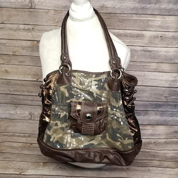 Kathy Van Zeeland Handbags - Kathy VanZeeland Sequined Black Camo Purse 723ed3e069ec7